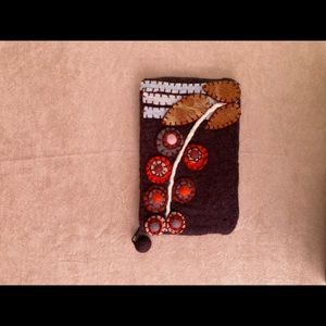 Wool Clutch Purse With Wool Flowers